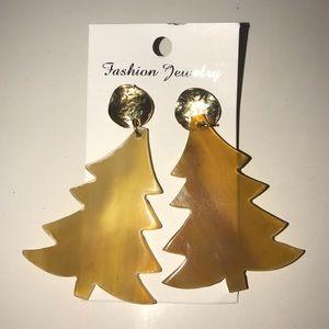 Indian Buffalo Horn Christmas Tree Earrings